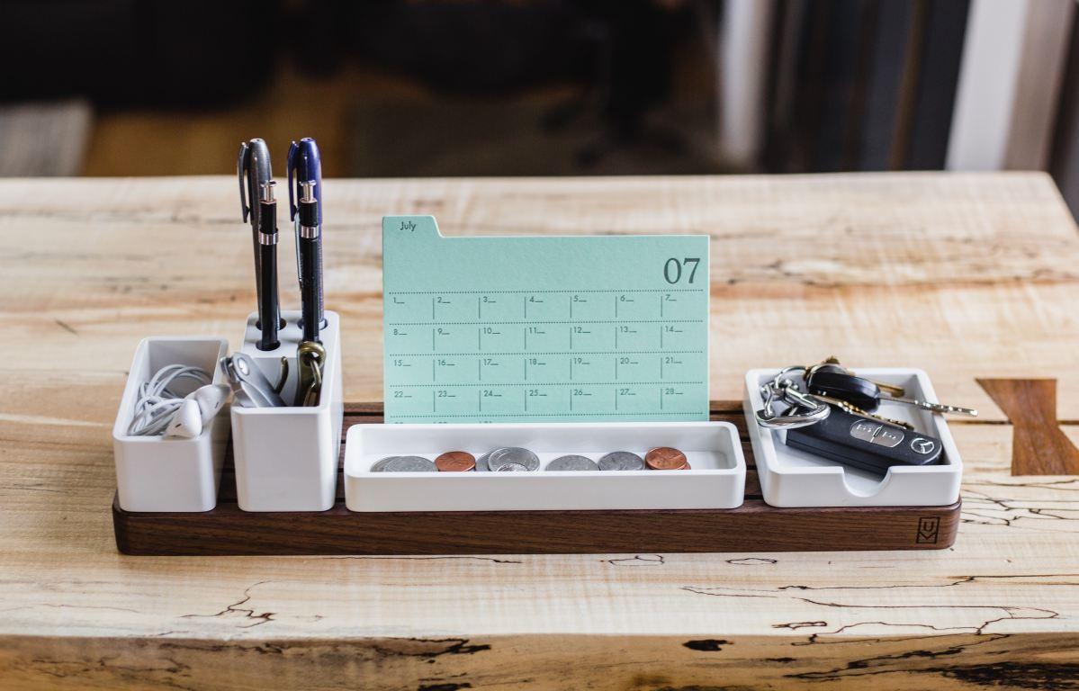 desk organizer on wooden table
